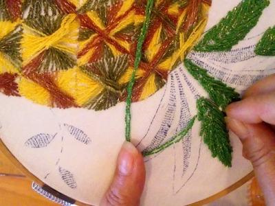 Como bordar los tallos de la piña Sonia R.A.
