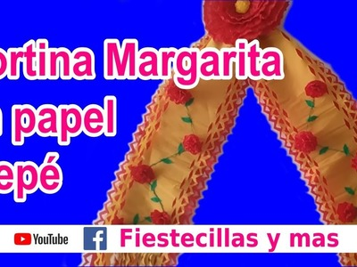 "Cortina ""Margarita"" en papel crepe (Tutorial completo) - Curtain ""Margarita"" on crepe paper"