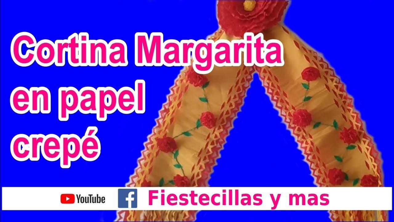 """Cortina """"Margarita"""" en papel crepe (Tutorial completo) - Curtain """"Margarita"""" on crepe paper"""