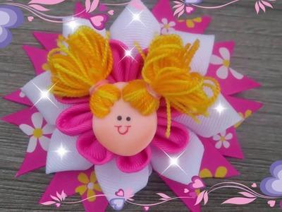DIY. moño escolar con decoracion porcelanicron. How to make easy buns