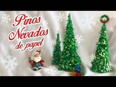 ⛄️ Pinos Nevados de Papel ????  Pinos Navideños  ChristmasTree DIY