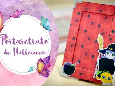 PortaRetratos de Halloween con cartón y papel. Arte y papel. Dulce Manzana