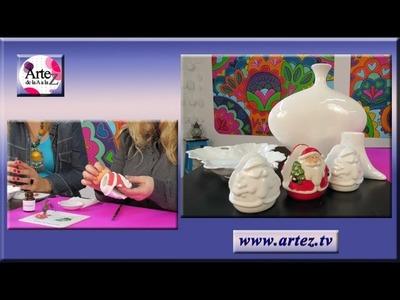 Aprende a decorar servilletero de porcelana