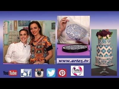 Como decorar una torta estilo mayólica con sellos y stencils - Sabrina Antinucci