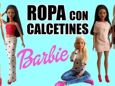 Cómo hacer Ropa para tu muñeca Barbie con Calcetines. Vestido, Falda, Jersey.  ¡Muy Fácil!