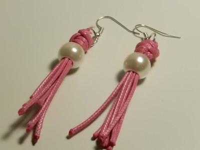 Como hacer unos pendientes de perlas y cordón