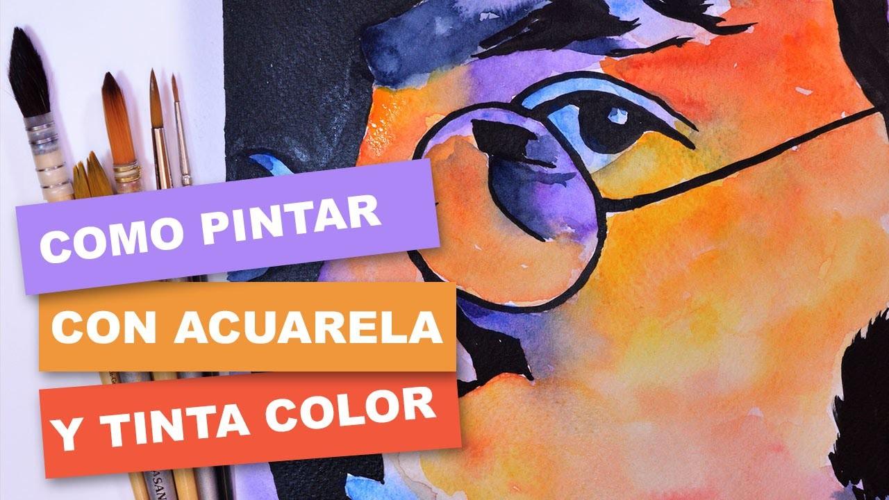 Cómo pintar fácil con acuarela y tinta. How to paint easy with watercolor and ink