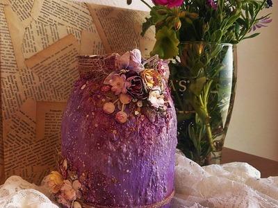 Cómo reciclar y decorar un tarro de cristal-TUTORIAL PASO A PASO-Altered glass jar.