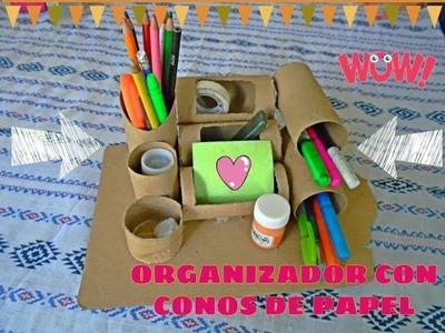 CREA UN ORGANIZADOR DE ESCRITORIO  ¡CON CONOS DE PAPEL HIGIÉNICO!