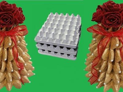 DIY arbolito de navidad con cartón de huevos