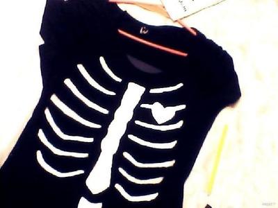 DIY Renueva tu ropa! Pinta una Remera de Esqueleto By: Flori Kitty
