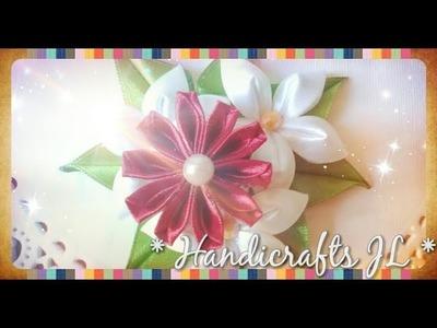 Flor Kanzashi de listón fácil de hacer. Kanzashi flower