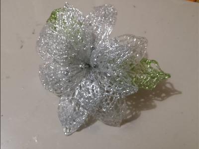 Flor navideña con diamantina, fácil, económico y decorativo