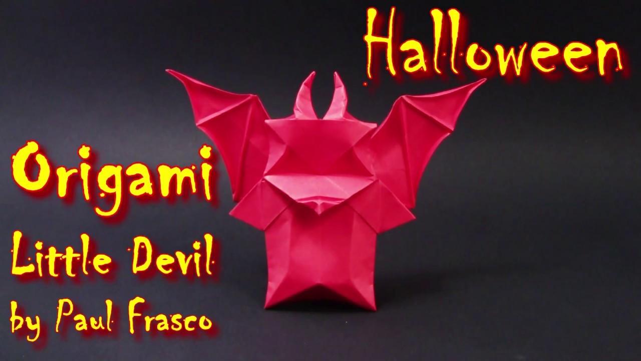 Helloween Origami Como fazer um pequeno diabo de origami. Cómo hacer un origami pequeño diablo