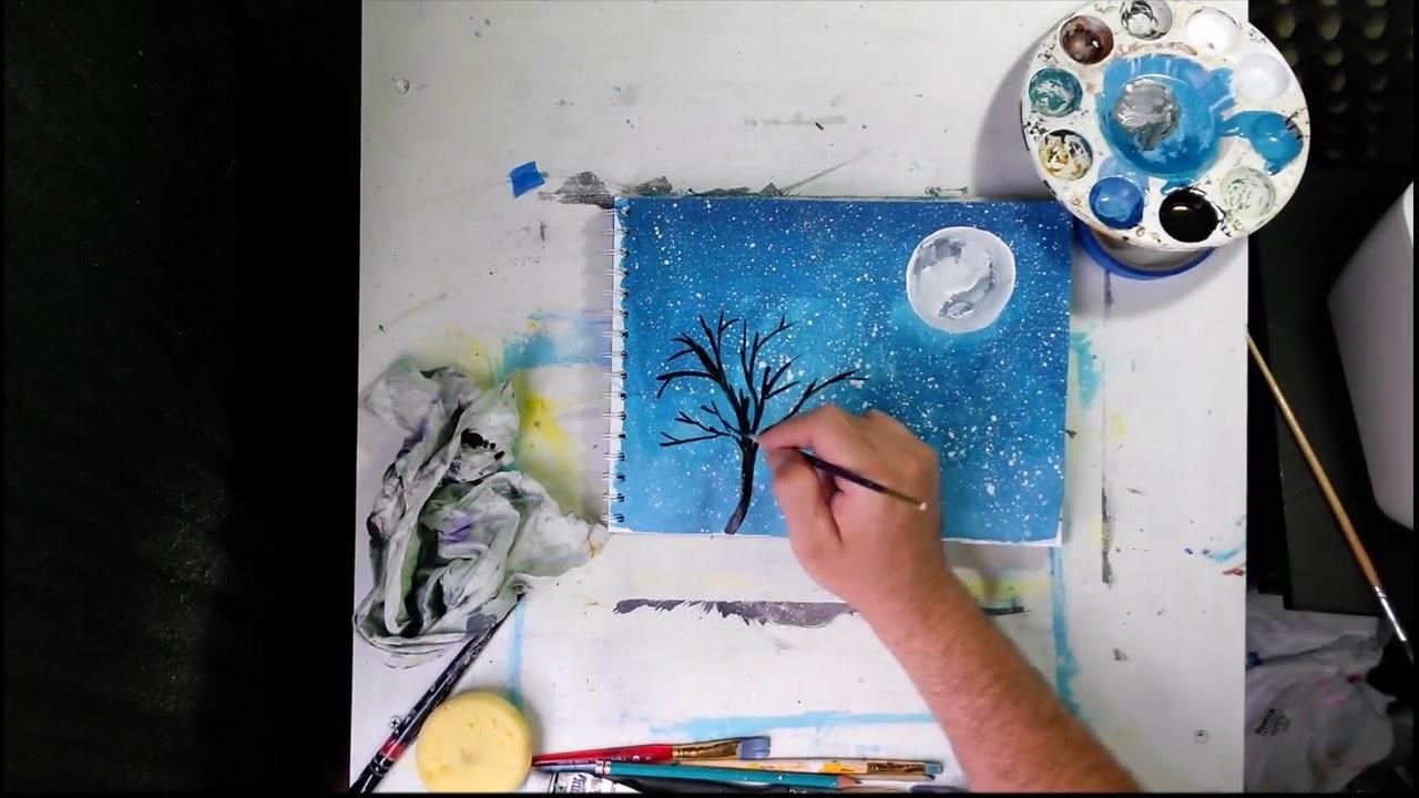 Pintando fácil y Rápido con Acrílicos Lobo Aullando a la Luna
