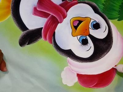 Pintando ojos y decorando pingüino con Alfre Severo.