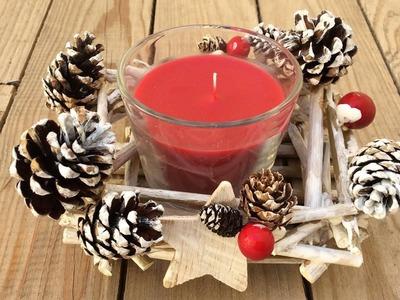 Portavelas para navidad reciclando ramas y piñas