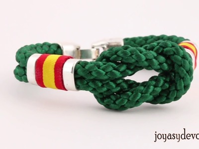 Pulsera España cordón verde hilo trenzado nudo
