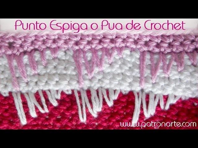 Punto Espiga de Crochet (Punto Pua de Crochet)