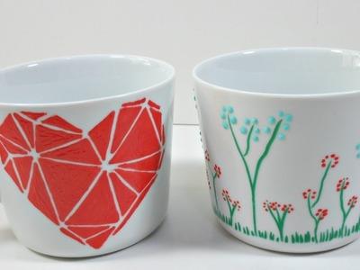 Tazas decoradas con pintura para vidrio y porcelana de MP