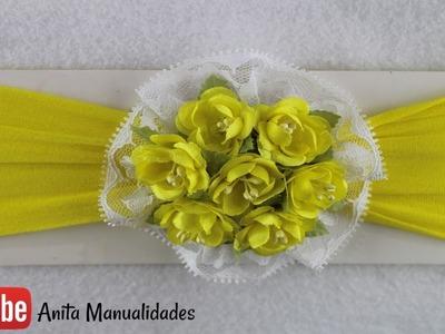 Tiara de media con flores pre fabricadas