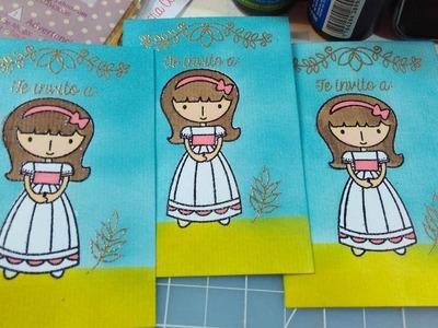 Tutorial: Como hacer tarjetas de primera comunión en serie. Mini Stamp Tool Dulce Manzana