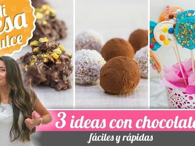 3 IDEAS FÁCILES CON CHOCOLATE | MESA DULCE DE PAM | Quiero Cupcakes!