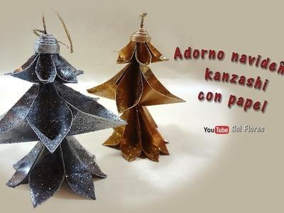 Adorno navideño 1 kanzashi con papel - Christmas ornament 1 kanzashi with paper