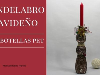 Candelabro Navideño con botellas pet