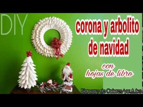 COLABORACIÓN  DE NAVIDAD????corona y arbolito de navidad con hojas de libro