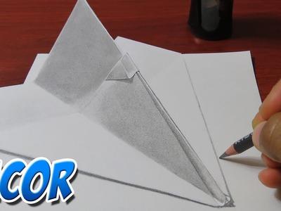 Como Dibujar Un Avioncito de Papel Realista en 3D