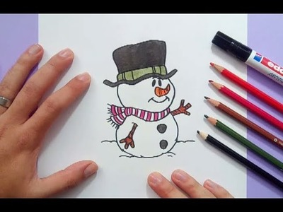 Como dibujar un muñeco de nieve paso a paso 7 | How to draw a snowman 7