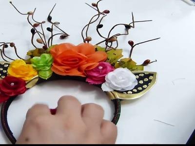 Diadema Navidad Cuernos de Ciervo con chamizos,  Christmas Headbands