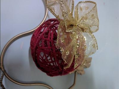 DIY Esfera navideña con sobrantes de hilo