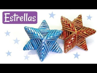 ESTRELLAS FÁCILES TEJIDAS. MANUALIDADES DE NAVIDAD