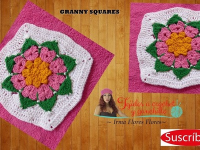GRANNY ESQURE TEJI A CROCHET.How to Crochet a Starburst Granny Square