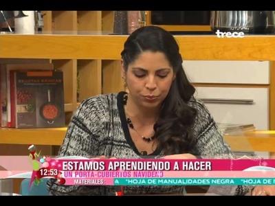 OrganizARTE en Ellas Arriba de TV Azteca - Cómo hacer porta-cubiertos navideños
