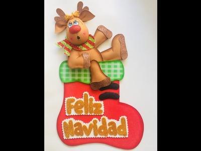 Reno y bota navideña paso a paso - Craft DIY manualidad navidad en foamy.goma eva.microporoso