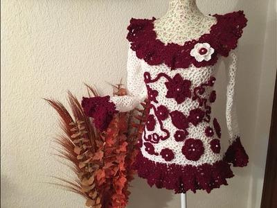 Tutorial Blusa ???? Parte-2.2 Verónica Crochet Red Irregular paso a paso