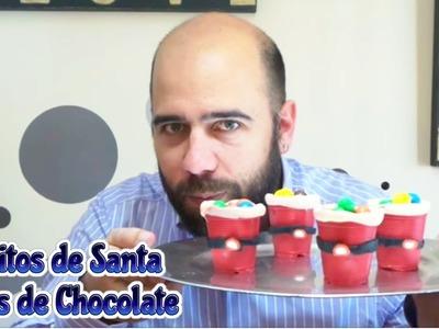 Vasitos de Santa Claus de chocolate. Postres navideños fáciles, recetas para Navidad.