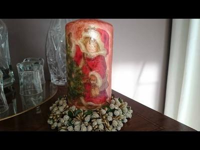 Vela con decoración Navideña en decoupage