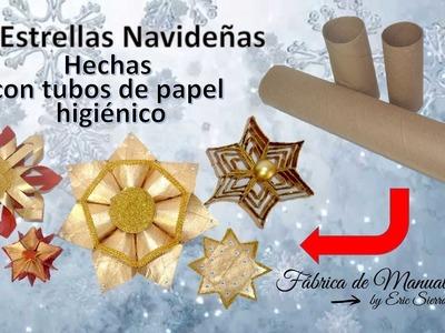 5 Estrellas Navideñas con Tubos de Papel Higiénico. 5 Christmas stars with toilet paper tubes.