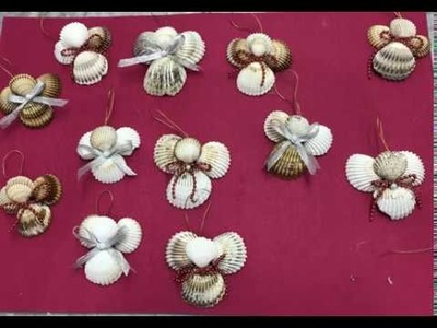 Ángeles hechos con conchas para navidad Angels made with shells for chritsmas