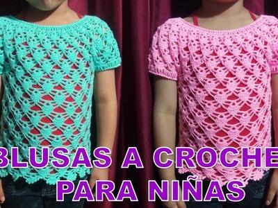 Blusa Tejida a crochet para Niñas en punto Arañitas o Piñitas paso a paso - MILAGROS ENA