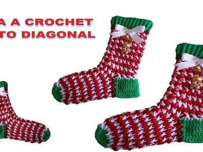 Bota navideña Tejida a crochet con punto diagonal 3D a crochet