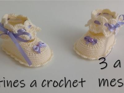 Botines para bebe a crochet -3 a 6 meses