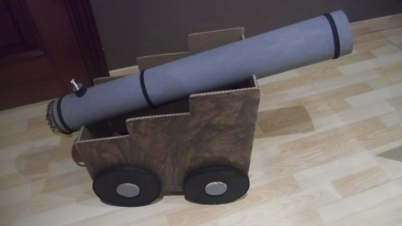 Cañón pirata hecho de cartón reciclado paso por paso