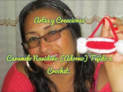 CARAMELO NAVIDEÑO TEJIDO A CROCHET