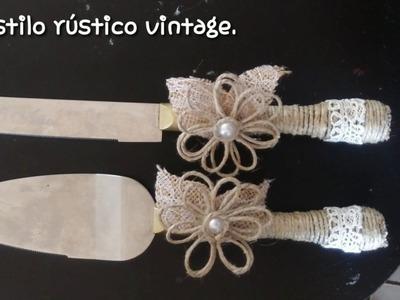 Como decorar espátula y cuchillo de bizcocho al estilo vintage