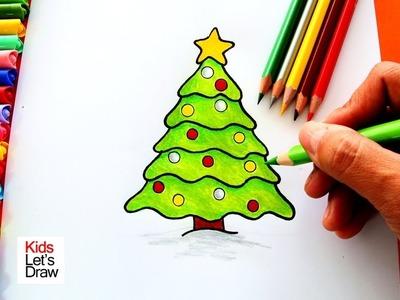 Cómo dibujar un Árbol de Navidad de manera fácil | How to draw a christmas tree!